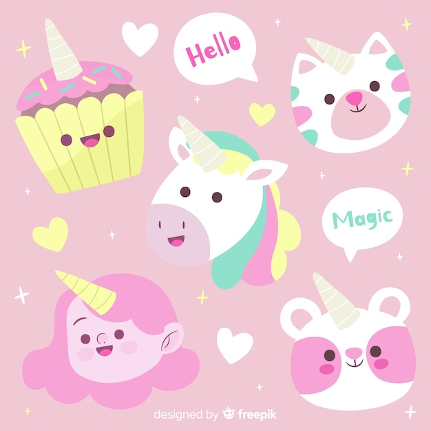 Kawaii unicorn character collectio Free Vector