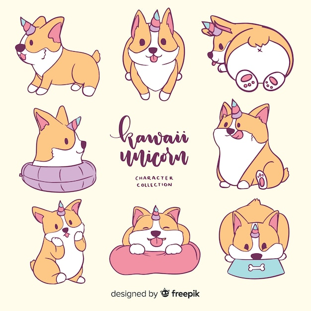 Kawaii unicorn character collection Premium Vector