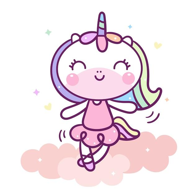 Kawaii unicorn character dancing on cloud Premium Vector