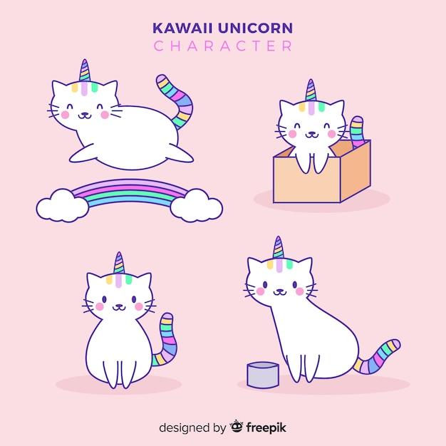 Kawaii unicorn collection Free Vector