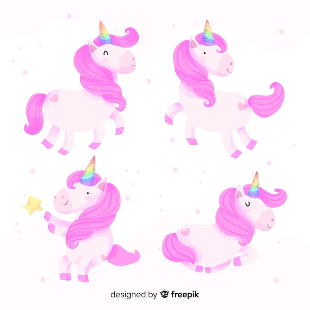 Kawaii unicorn collection Free Vector