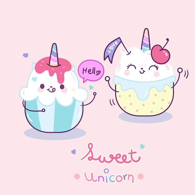 Kawaii unicorn couple cake cartoon Premium Vector