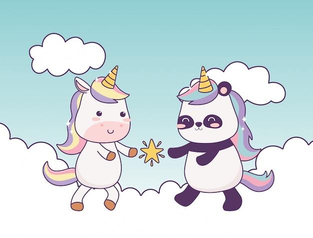 Kawaii unicorn and panda with star in clouds cartoon ...