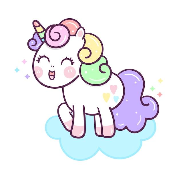 Kawaii unicorn vector on cloud hand drawn style Premium Vector
