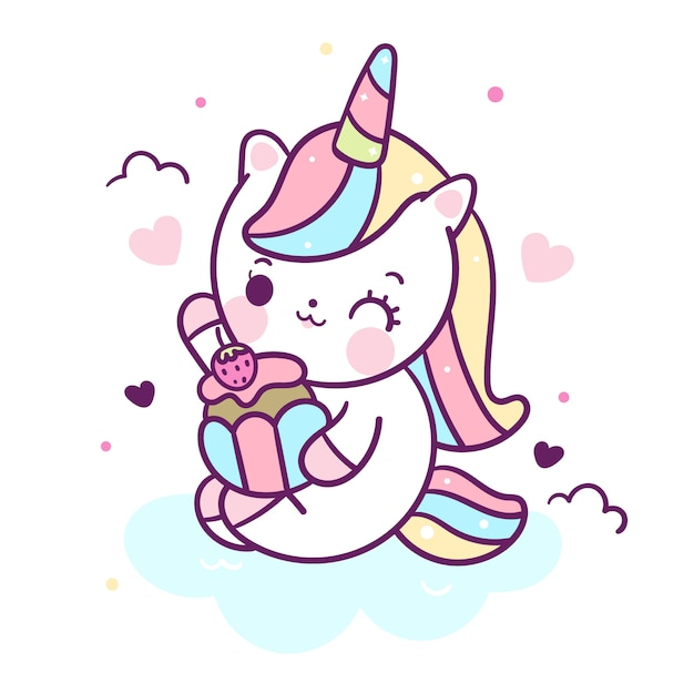 Kawaii unicorn vector eat cupcake Premium Vector