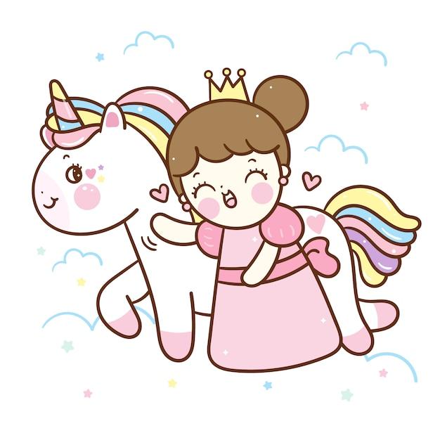 Kawaii unicorn vector and little princess cartoon Premium Vector