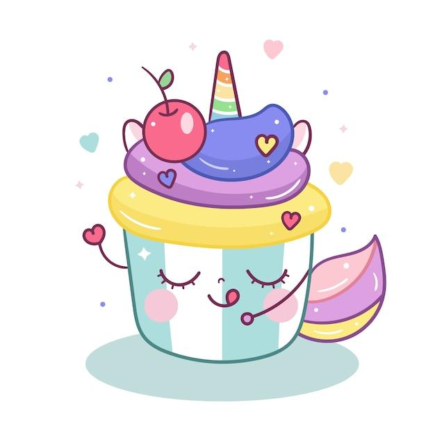 Kawaii unicorn with sweet cupcake cartoon Premium Vector