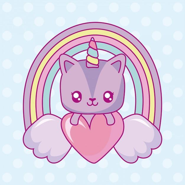 Kawaii unicorn with wings and heart over rainbow Premium Vector