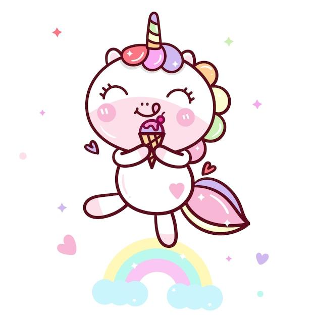 Kawaii unicorn вектор вкусное мороженое Premium векторы