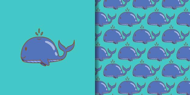 Каваи кит мультфильм рисованной стиль Premium векторы