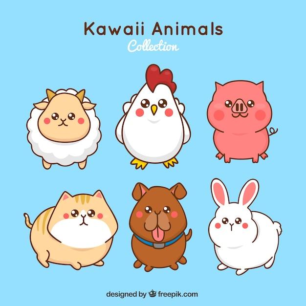 Набор сельскохозяйственных животных kawaii Бесплатные векторы