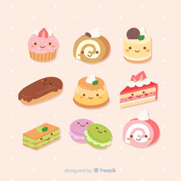 Kawaii коллекция рисованной сладости Бесплатные векторы