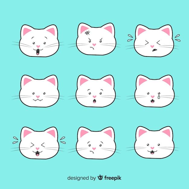 Kawaii коллекция рисованной кошек Бесплатные векторы