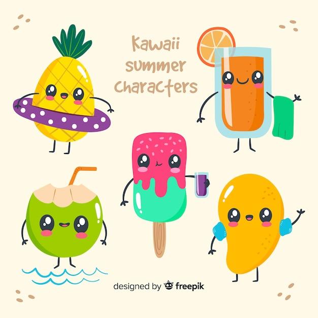 Kawaii мороженое персонажей Бесплатные векторы