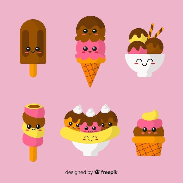 Коллекция персонажей мороженого kawaii Бесплатные векторы