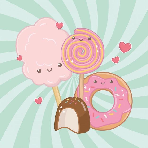 Сладкий хлопок, сахар и конфеты kawaii символов Бесплатные векторы