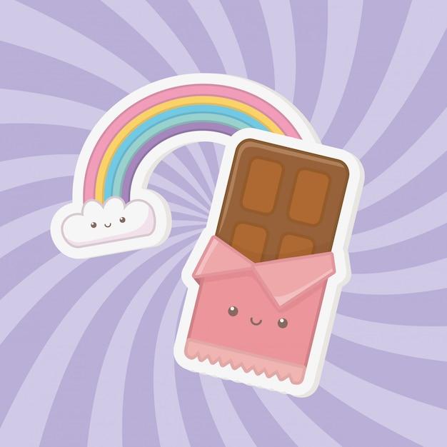 Сладкий шоколадный батончик и конфеты kawaii символов Бесплатные векторы