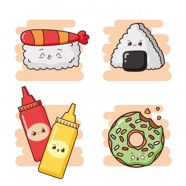 Kawaii фаст-фуд милые суши, соусы и милый зеленый пончик иллюстрации Бесплатные векторы