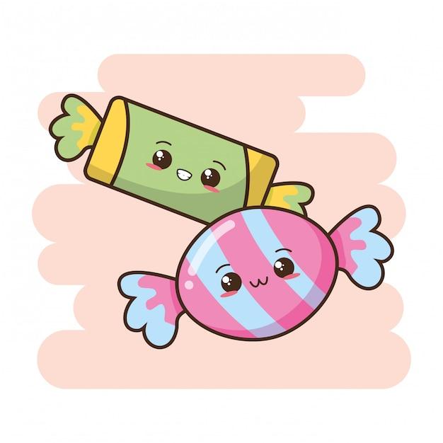Kawaii фаст-фуд милые конфеты иллюстрация Бесплатные векторы