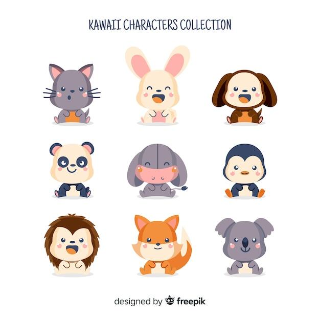 Kawaii коллекция символов Бесплатные векторы