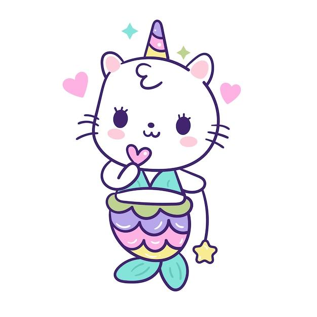 Kawaii кошка русалка вектор с мини-сердцем и звездой Premium векторы