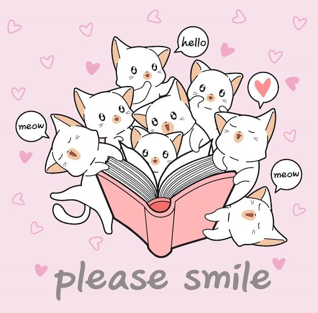 Kawaii кошки любят книгу Premium векторы