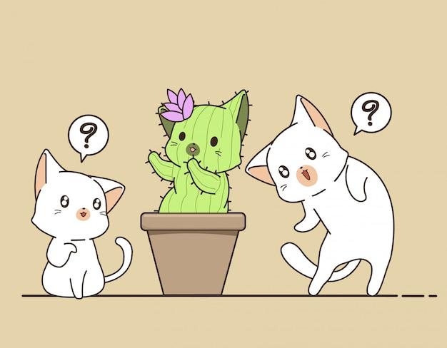 Kawaii кошек и кошек кактус Premium векторы