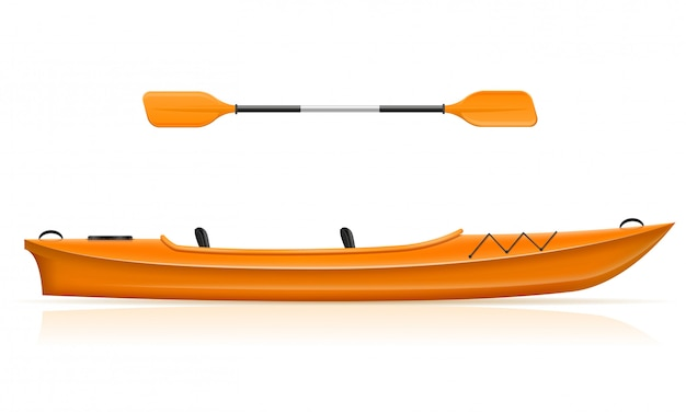 Kayak from plastic for fishing and tourism. Premium Vector