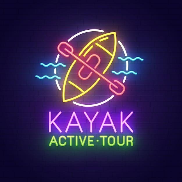 Kayak neon sign Premium Vector