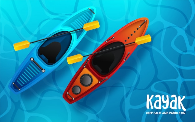 Kayak vector illustration, kayaking water sport Premium Vector