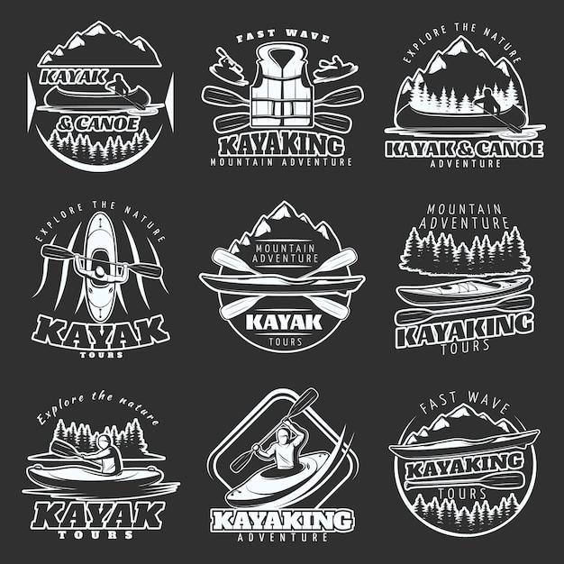 Kayaking tours logo set Free Vector