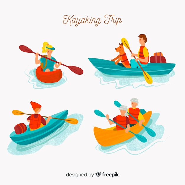 Kayaking trip collection Free Vector
