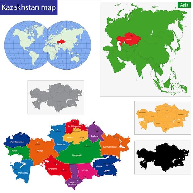 Kazakhstan map Premium Vector