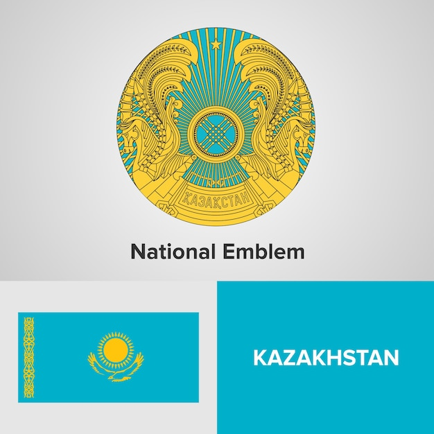 Kazakhstan national emblem and flag Premium Vector