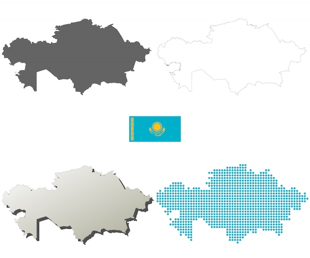 Kazakhstan vector outline map set Premium Vector