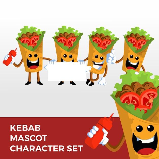 Kebab mascot character set Premium Vector