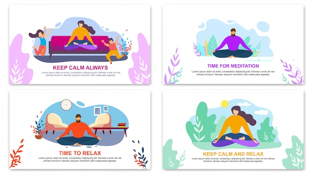 Keep calm always, time for meditation banner Premium Vector