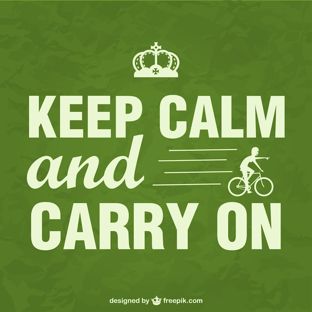 Keep calm bike poster Free Vector