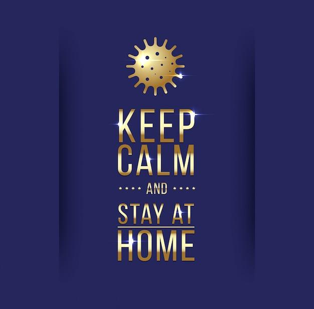 Keep calm and stay at home. coronavirus symbol. coronavirus self-quarantine illustration. coronavirus print. vector. Premium Vector