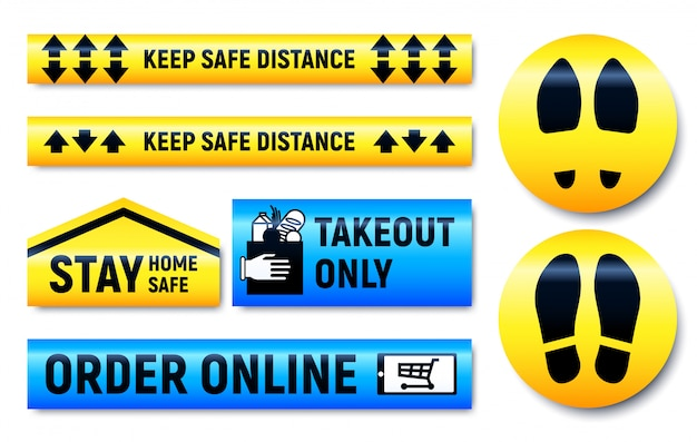 Держите дистанцию и оставайтесь дома, установите наклейки и маркеры Premium векторы