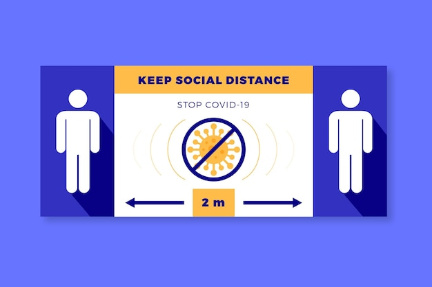 Keepsocial distance banner sign Free Vector