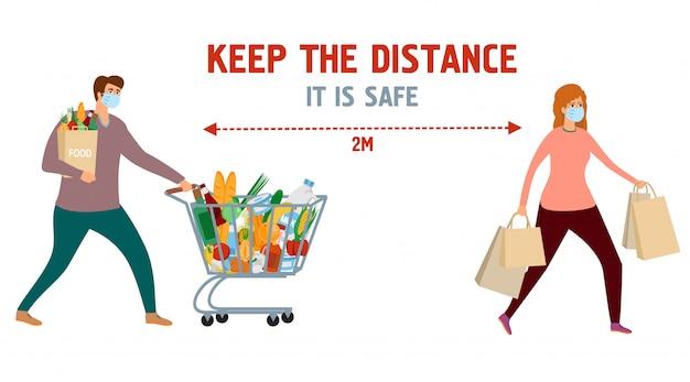 Держите дистанцию. информационный плакат. мужчина и женщина в продуктовом магазине с продуктовой корзины и продуктовых сумок. девочка и мальчик по магазинам в защитных масках. безопасная жизнь, информация о профилактике вирусов Premium векторы
