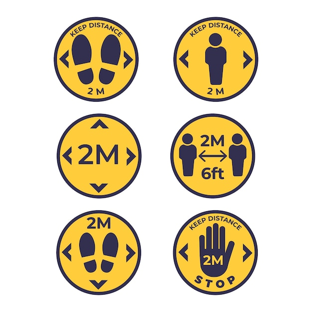 Keep your distance sign collection Free Vector