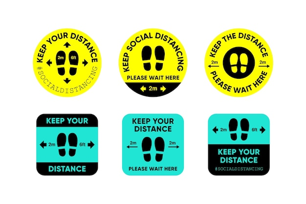 Keep your distance - sign collection Free Vector