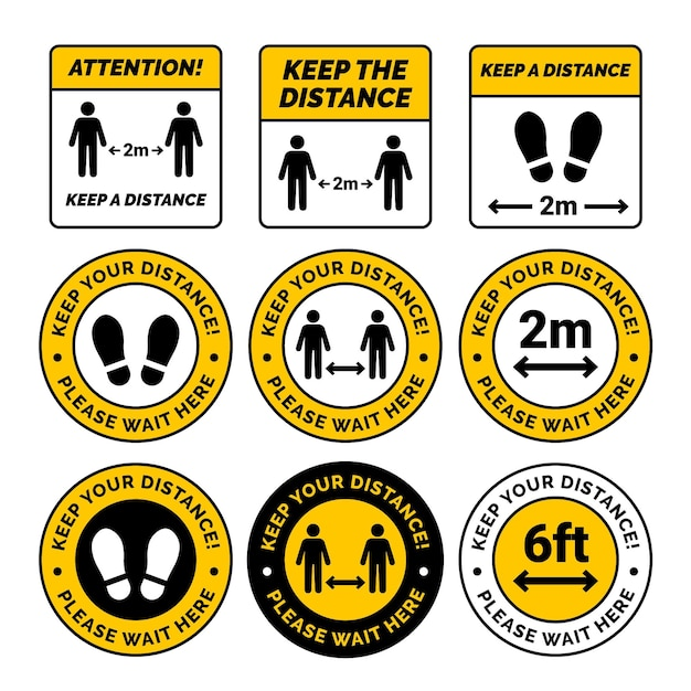 Keep your distance sign set Free Vector
