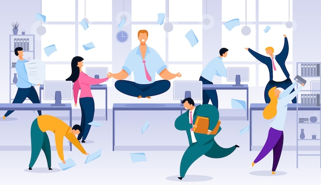 Keeping calm and balance in office work chaos Premium Vector