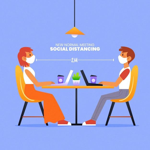 Mantenere la distanza in una riunione Vettore gratuito