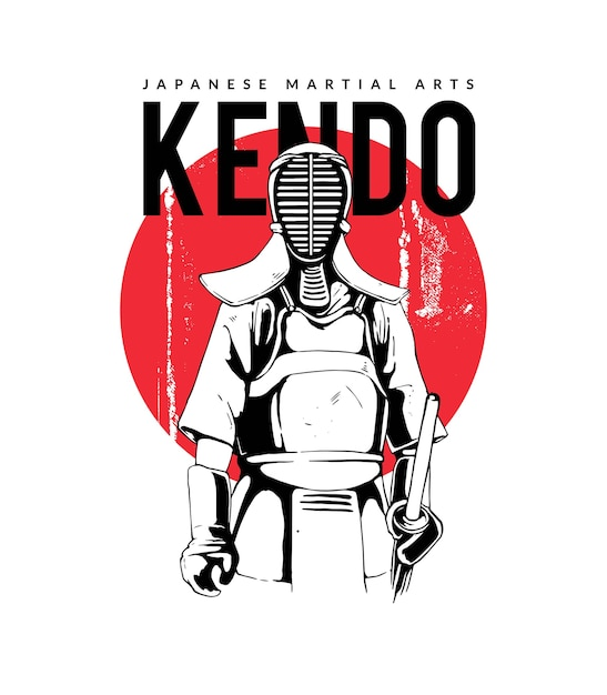 Kendo japanese martial arts Premium Vector