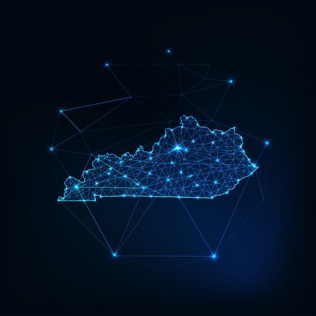 ケンタッキー州の米国地図星のライン、低多角形で作られた輝くシルエットアウトライン。 Premiumベクター