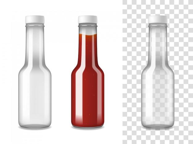ケチャップガラスボトル現実的なセット 無料ベクター